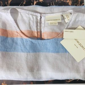 NWT Cynthia Rowley Linen Striped Dress M